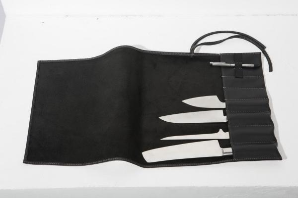 Messertasche Leder schwarz grau Exclusive Chefs 2